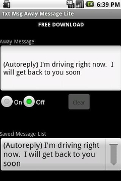 Txt Msg Away Message Lite