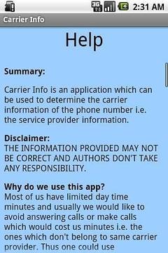 Carrier Info