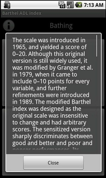 Barthel ADL index