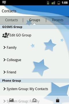 Go SMS Theme Blue Stars