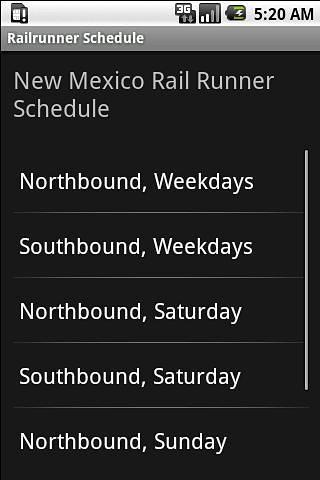 Railrunner时刻表