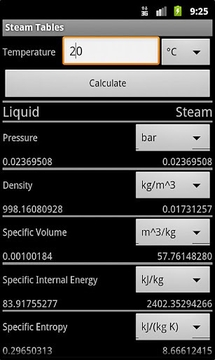 Android Steam Tables