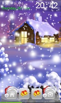 圣诞节飘落的雪花-魔力锁屏主题