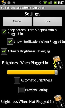 Full Brightness When Plugged I