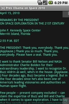 Pres Obama on Space 2010