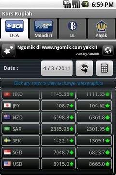 货币汇率显示