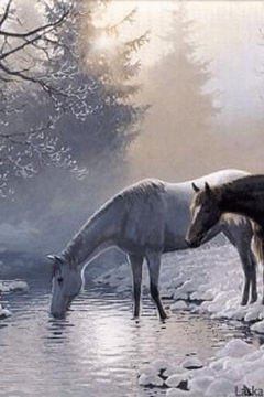 Horses and snow Live Wallpaper