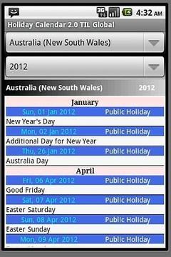 Holiday Calendar 2011-2012