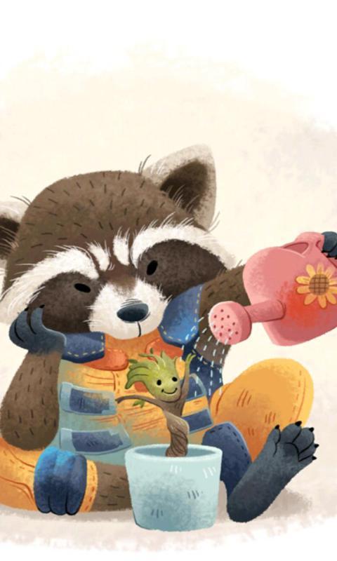格鲁特与火箭浣熊-绿豆动态壁纸