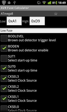 AVR Fuse Calculator