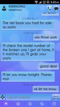 Go SMS Theme Soft Blue