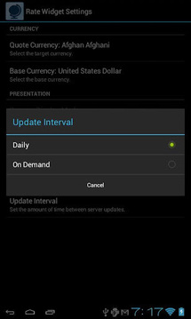 Currency Rate Widget