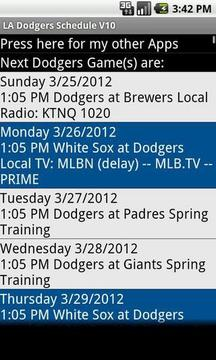 Simple LA Dodgers Schedule