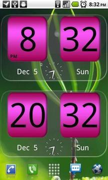 粉红色翻转时钟插件
