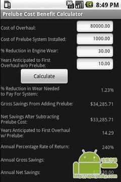预润滑成本效益计算器