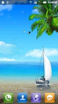 Beautiful Blue Sea Sky 3D
