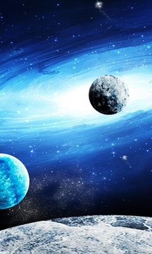 Earth Galaxy and Moon 3d LWP