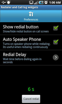 Redialer and Call log Widgets