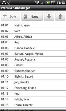 Svenska namnsdagar lite