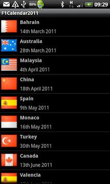 F1 Calendar 2011
