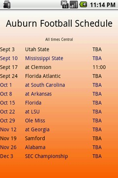Auburn Football Schedule