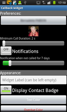Call Reminder Widget