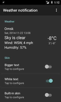 Weather notification skin