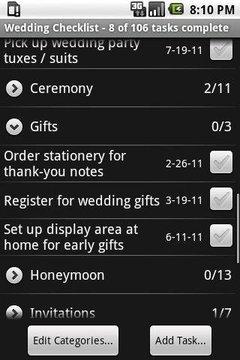 婚礼核对表