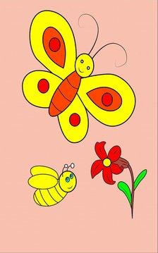 孩子着色并学习昆虫的名字