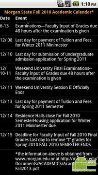 密歇根州立大学2010年秋季教学日历