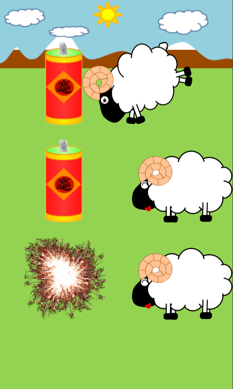 触按羊只来激发可爱的小羊!兴奋的小羊将会点燃炮竹!