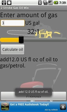 2 Stroke Gas Oil Mix Calc