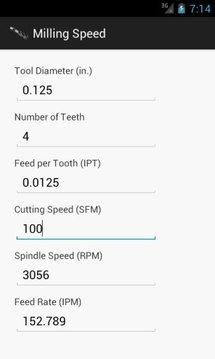Milling Speed Calculator