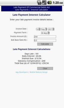Late Payment Interest Calc