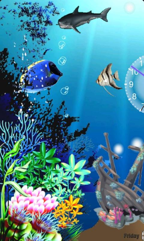 海底世界动态壁纸,在你的手机屏幕上看到五颜六色的鱼梦幻般游过,包含