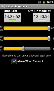 Airplane Mode Resume Timout