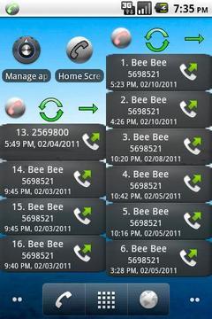 主屏幕通话记录 Home Screen Call Logs