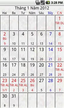 Android Calendar Việt