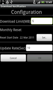 Download Limit Notification