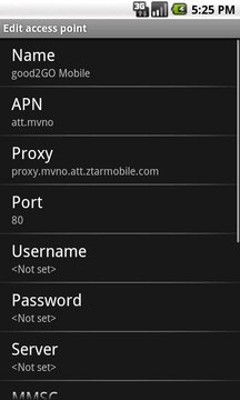 good2GO APN Config