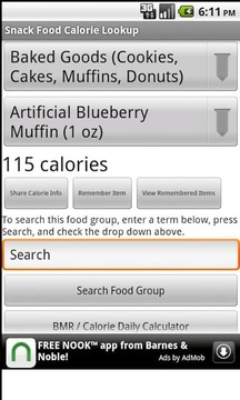 Snack Food Calorie Lookup