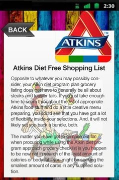 Atkins Diet Free Shopping List