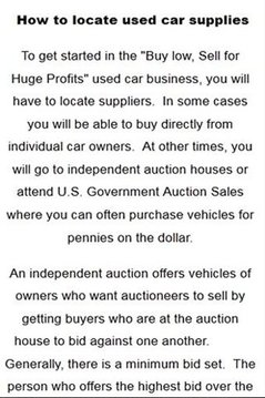 Starting a used car business
