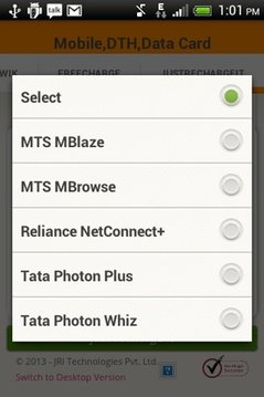 Mobile Recharge,DTH,Data Card