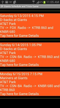 SF Giants Schedule Simple