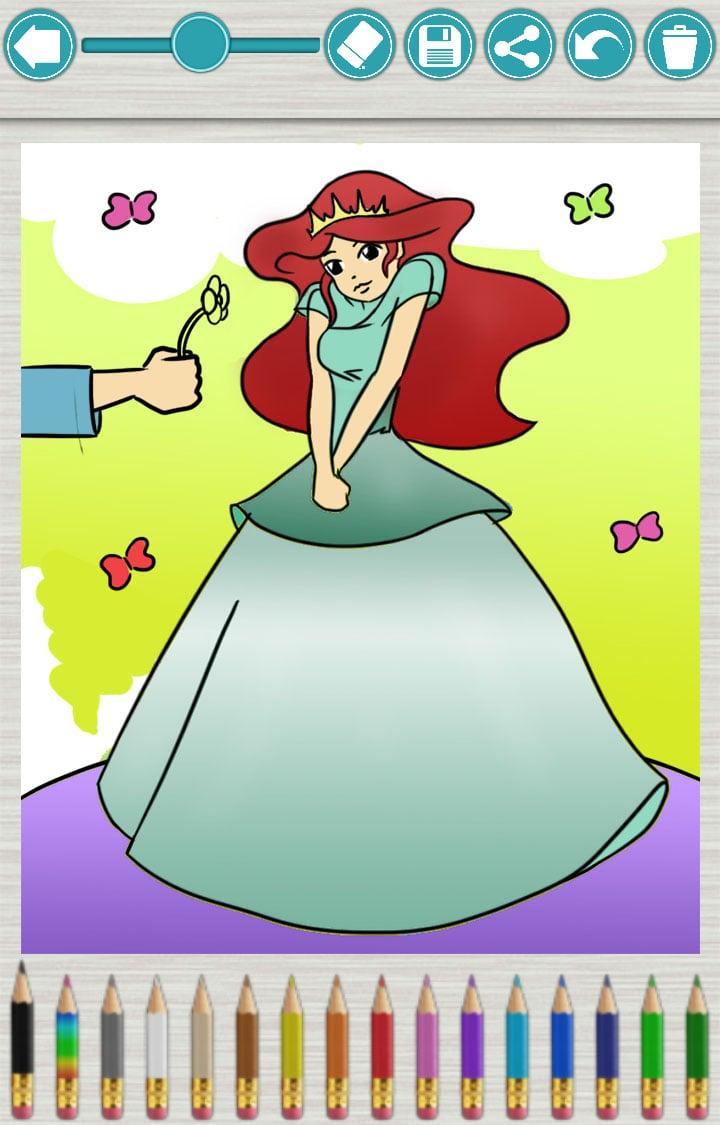 儿童画画游戏:公主涂色