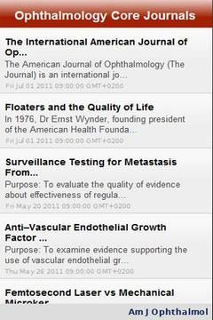 Ophthalmology Core Journals