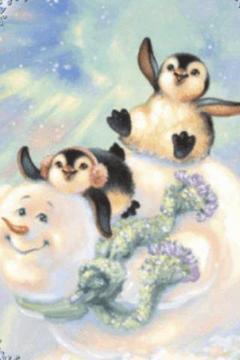 Cute Penguins on the Snowman L
