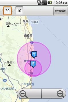 福岛原発からの距离・避难区域マップ