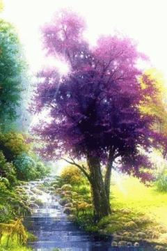 Stream Water n Purple Tree